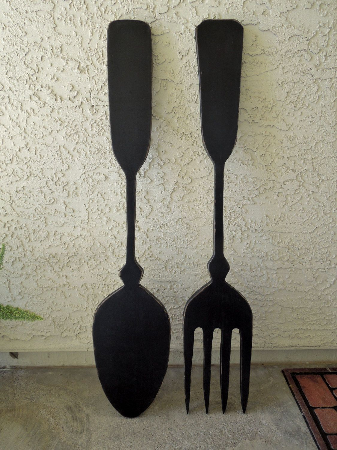 Large Fork And Spoon Wall Decor Big Wood Spoon And Fork Wall Decor For Your Kitchen By Jigsawjoe