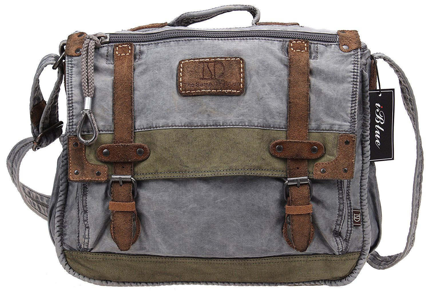 538ccfe5a87 Iblue Mens Canvas Laptop Messenger Crossbody Handbag Satchel Tote College  Book Bag 15.5 In