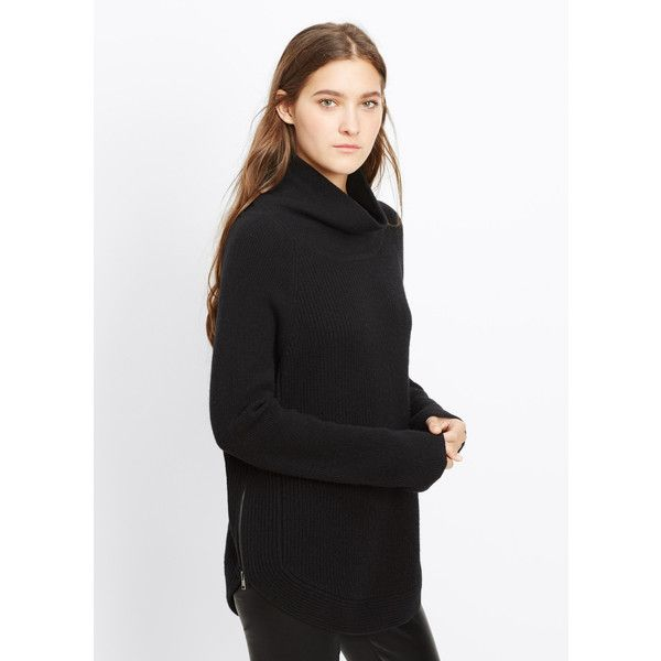 7c497cdc70480 Vince Ribbed Turtleneck Sweater with Side Zippers ( 365) ❤ liked on  Polyvore featuring tops