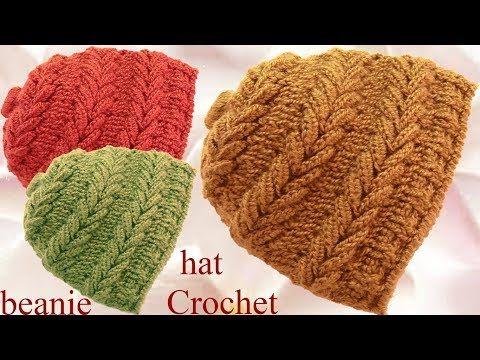 Gorro a Crochet en punto espigas horizontales en relieve tejido  tallermanualperu - YouTube 5e587865d31