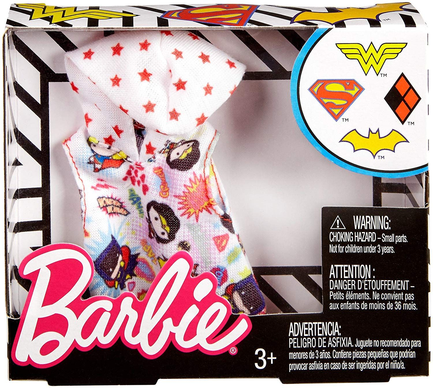 Barbie DC Comics White Hoodie Fashion Toys