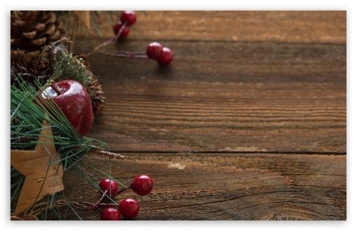Rustic Christmas Table Decorations Background Wallpaper