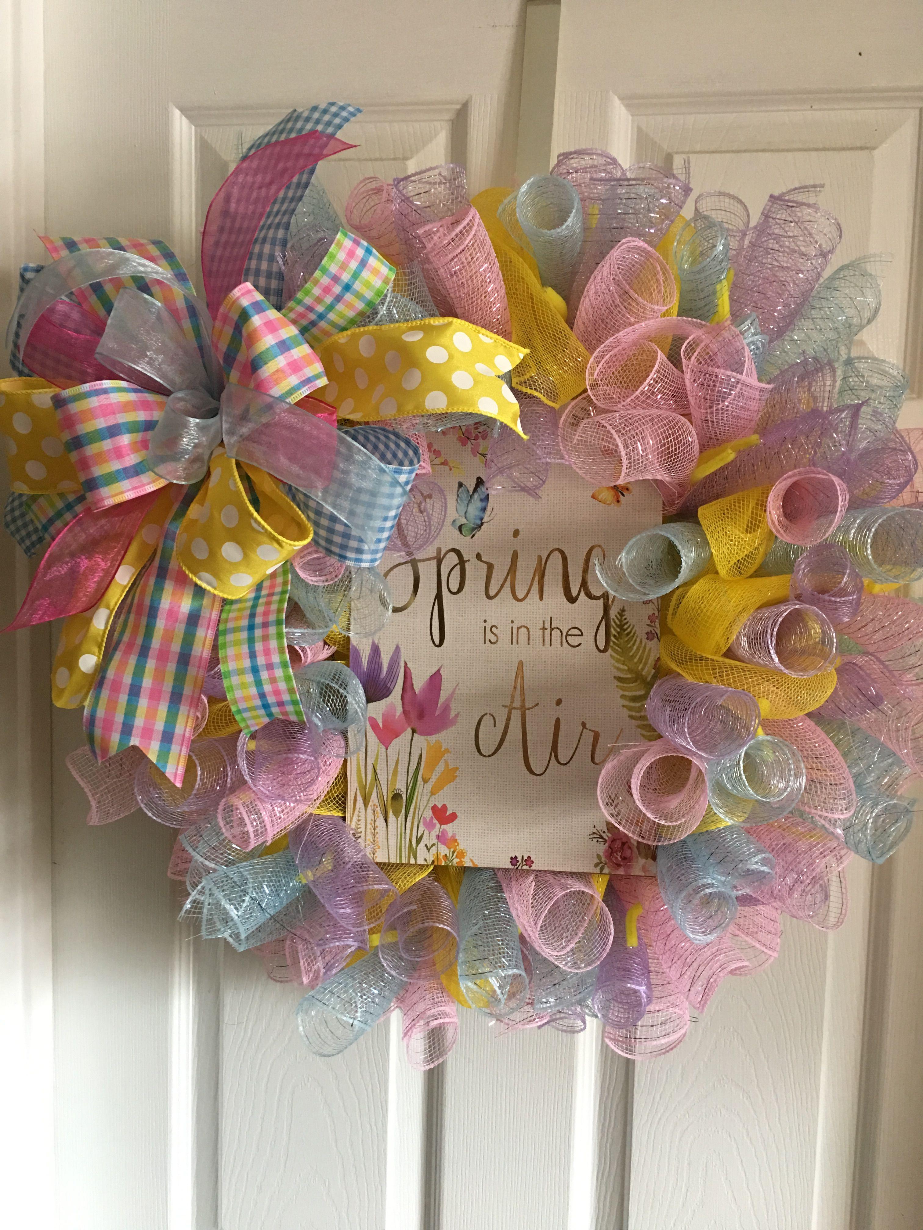 Fun Spring Summer Year Round Curly Bright Deco Mesh Door Wall Wreath