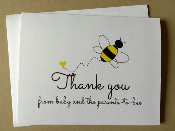 Set Of 12 Bee Baby Shower Thank You Cards Bumblebee