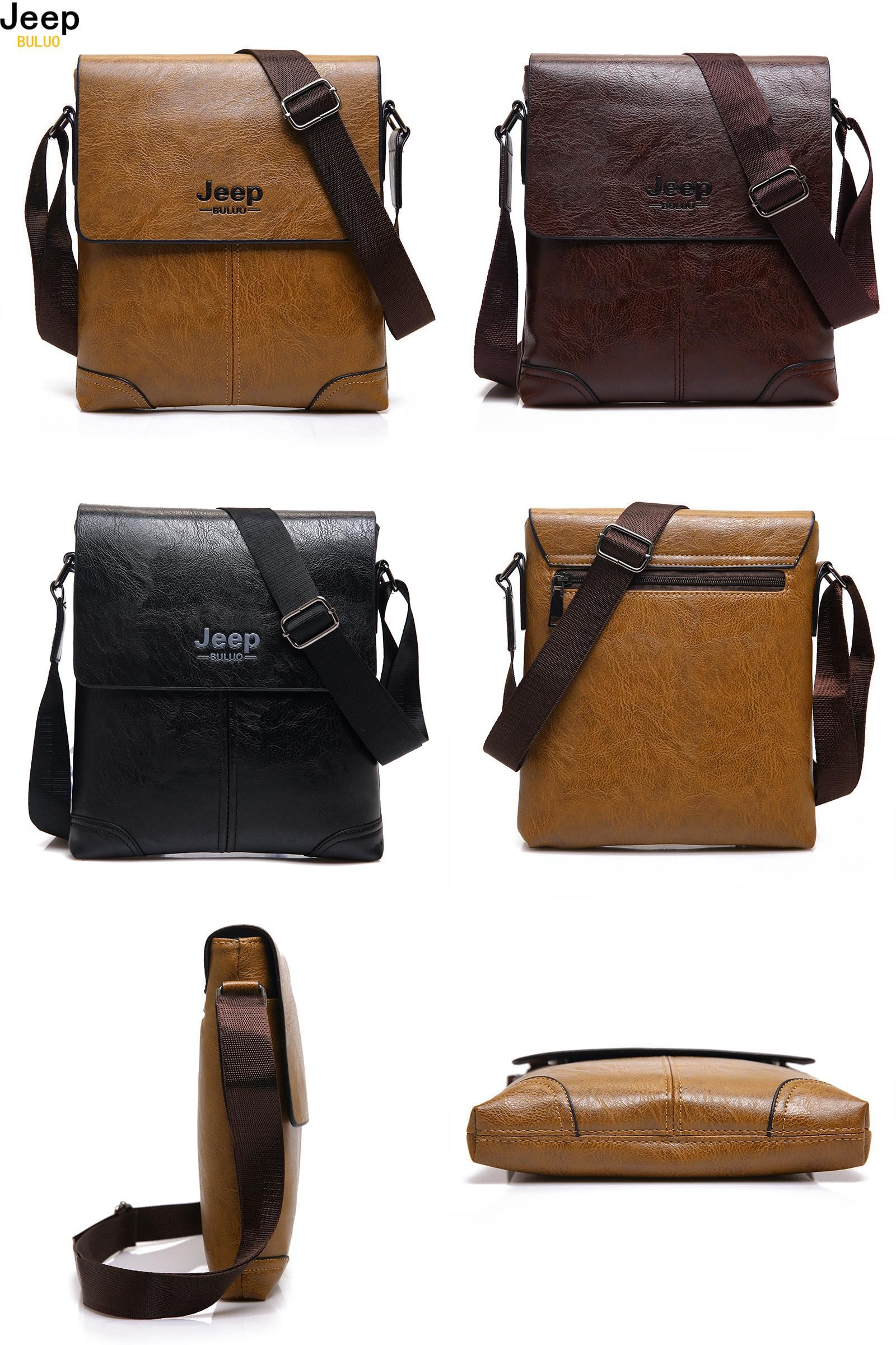 Visit to Buy  JEEP BULUO Brand Men Leather Bags Casual Business Tote Bag  For 3ab06db5ffadb