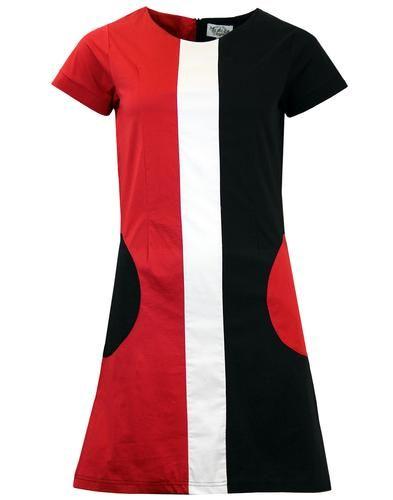 074639d941326 Honey Retro Mod Circle Pocket A-Line 60s Mini Dress (Blk Red) from Madcap  England