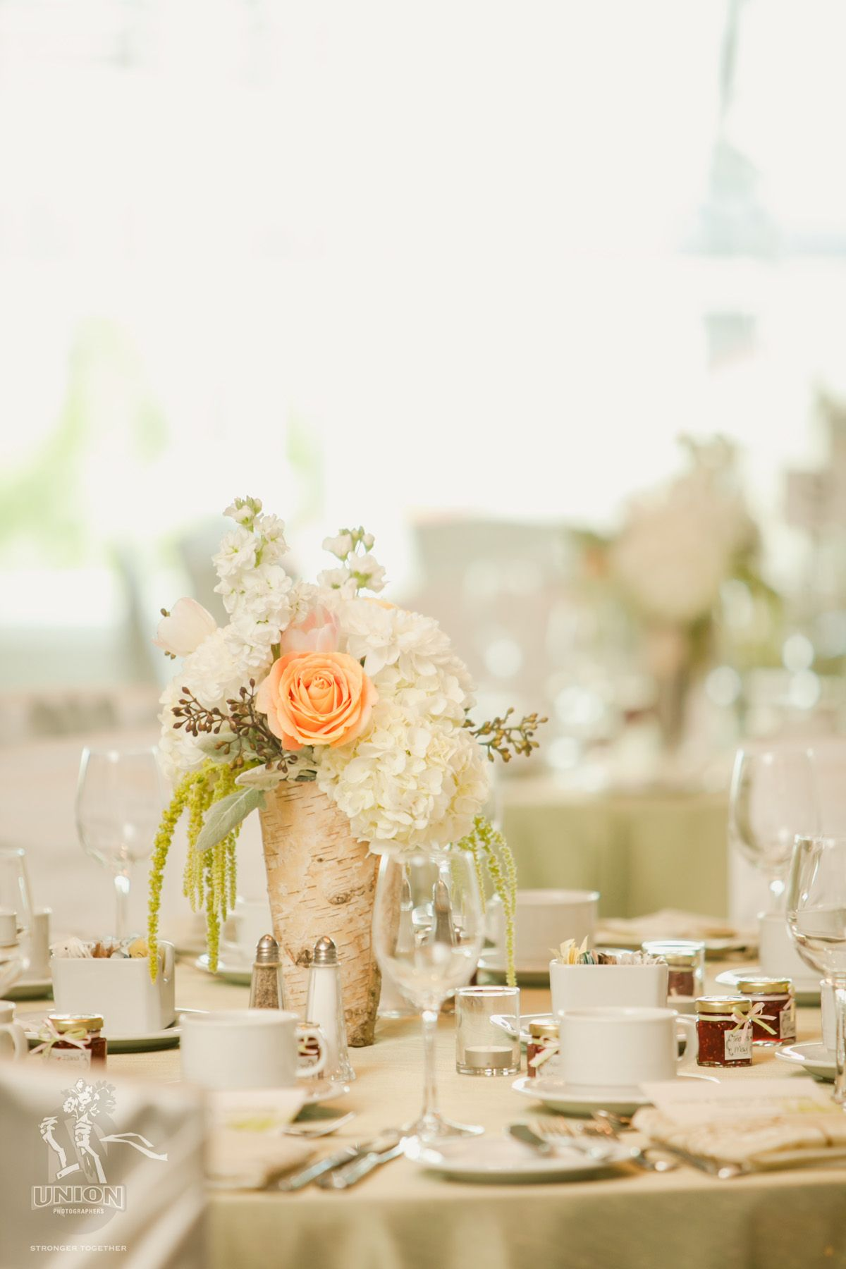 Centerpieces by Smitten Events. Birch bark vases with ivory and ...