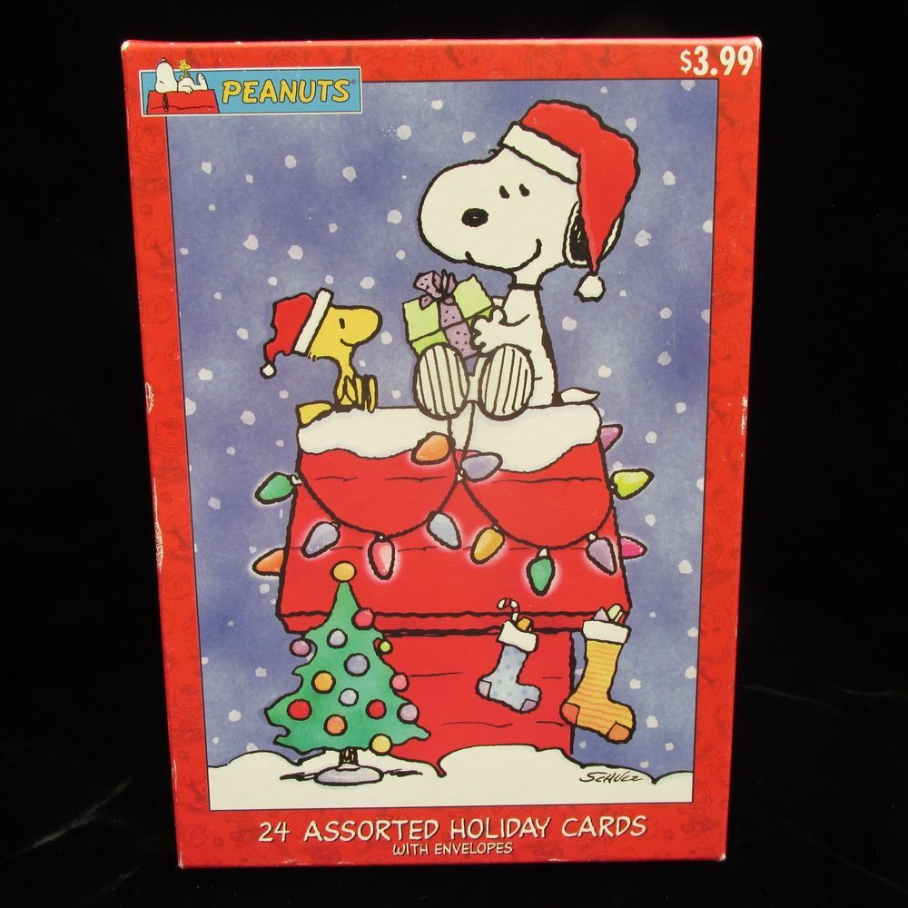 Peanuts Snoopy Christmas Holiday Assorted Cards 19 With Envelopes ...