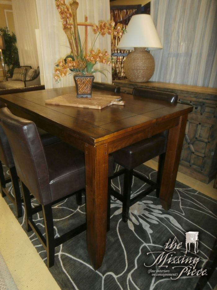 Thick Cut High Top Farm Table With Four Matching Bar Height Bar - High top farm table