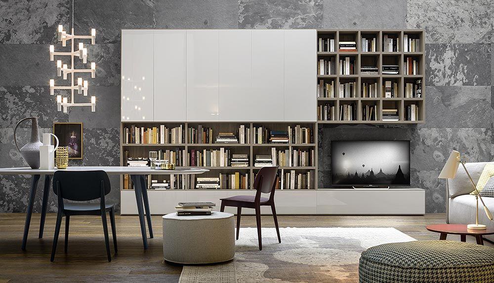 Moderne Design TV Wohnwand Aus Italien Von Novamobili #Designer #Wohnwand  #Bücher #Bücherregal #Interior