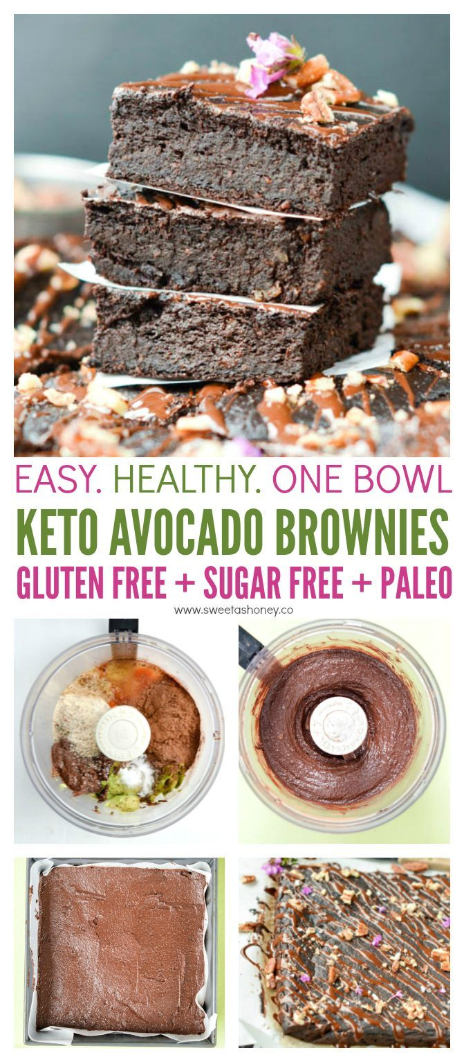The Best Avocado Brownies Keto, Fudgy dessert - Sweetashoney #healthyavocadorecipes