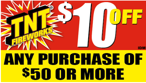 image relating to Tnt Fireworks Coupons Printable referred to as TNT Fireworks Coupon - Help you save $10 off $50 Random
