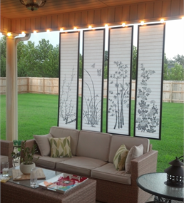 An Easy Artistic Patio Sun Screen Created From An Inexpensive Room Divider  Screen.