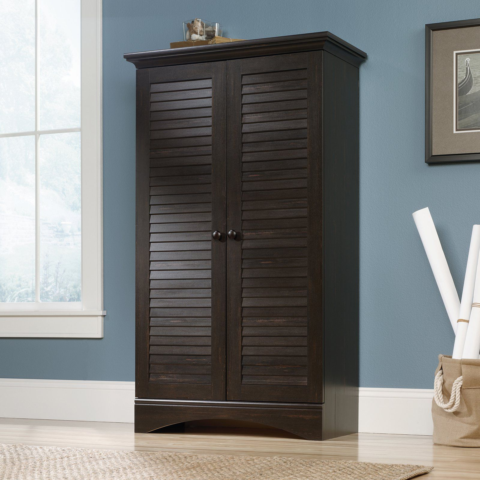 Sauder harbor view storage cabinet tidy up your living room craft