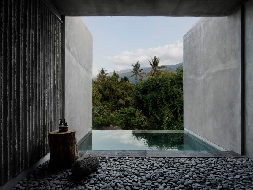 Rough Concrete Walls Frame Jungle Views At The Tiing Hotel In Bali In 2020 Hotels Design Concrete Wall Frames On Wall