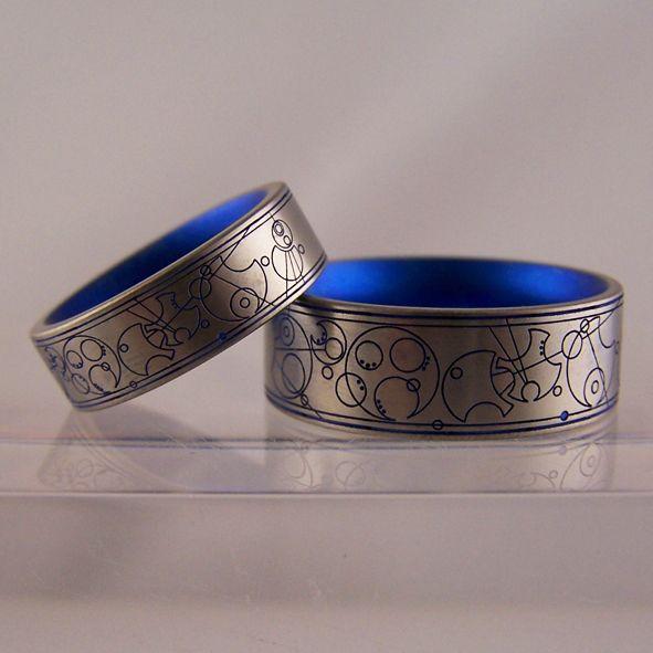 7d257ebfedb01 Laser engraved Dr. Who Gallifreyan wedding rings