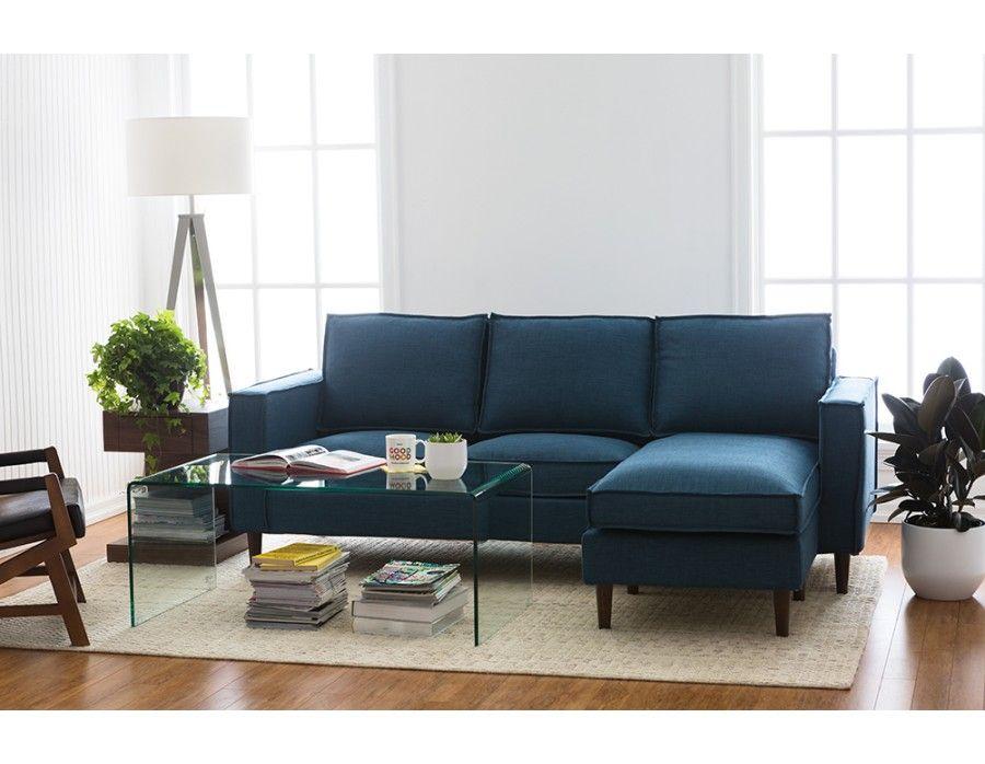 York Interchangeable Sectional Sofa Blue Dark Light