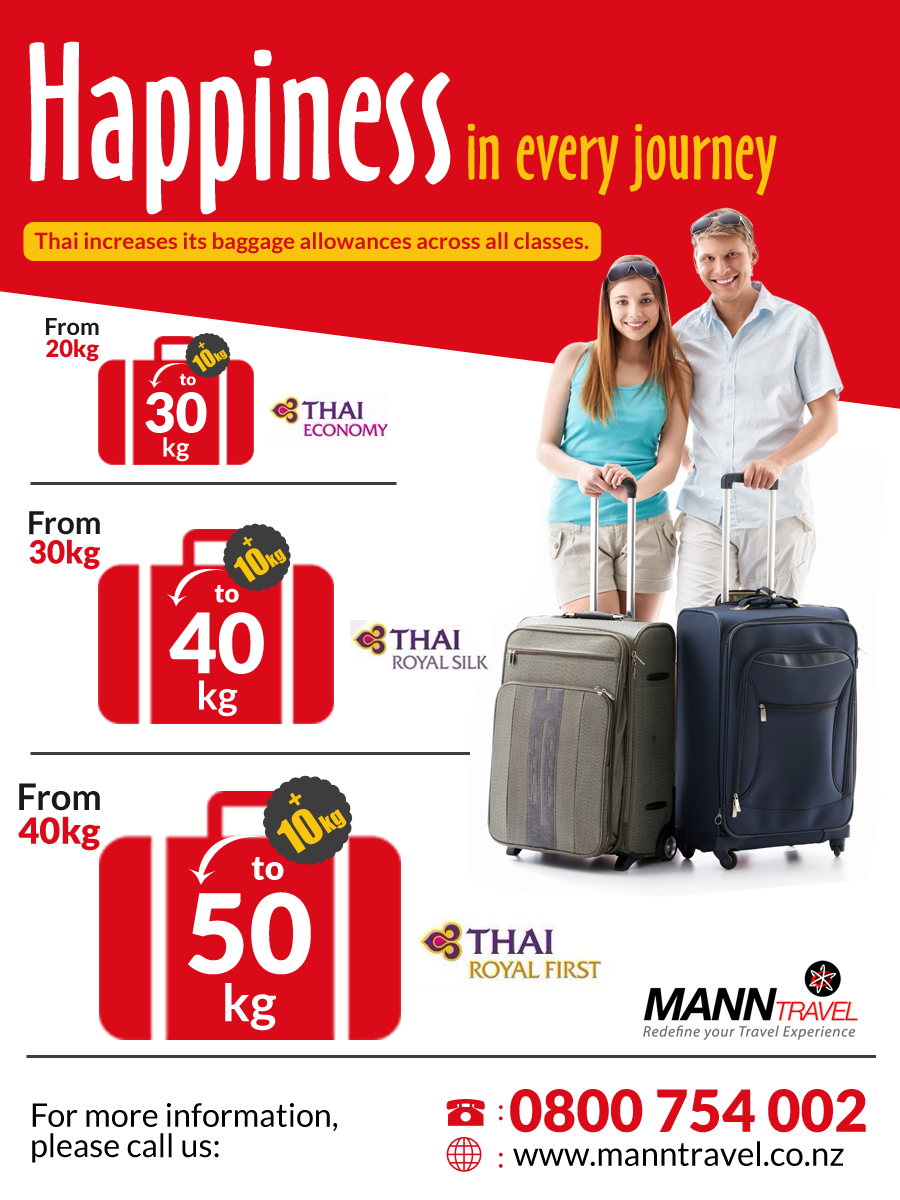 10 kg extra checked baggage allowance increased on thai. Black Bedroom Furniture Sets. Home Design Ideas