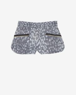 L'Agence EXCLUSIVE Zipper Pocket Printed Track Shorts