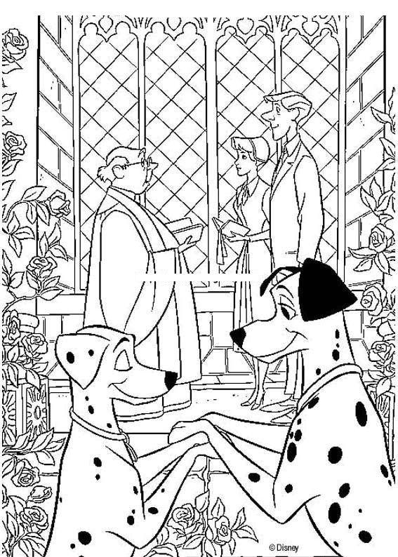 101 Dalmatians Wedding Coloring Page Wedding Coloring Pages Disney Coloring Pages Cool Coloring Pages