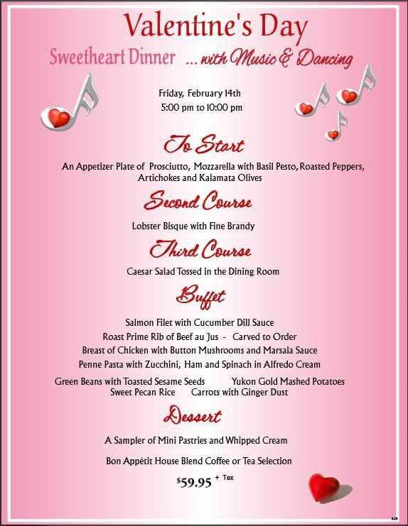 Bon Appetit Valentine S Day Dinner Dance Menu Valentine S Day 2014