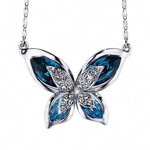 Sojewe Vintage Butterfly Pansy Flower Locket Necklace with August Birthstone Crystal Gold Plated