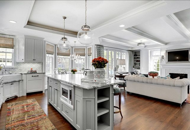 White Kitchen Family Room open plan ideas for a combined family room / kitchen the move in