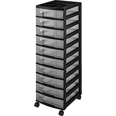 10 Drawers Durable Storage Tower Black Clear 116009 Mobile Tower Drawers Lego Storage