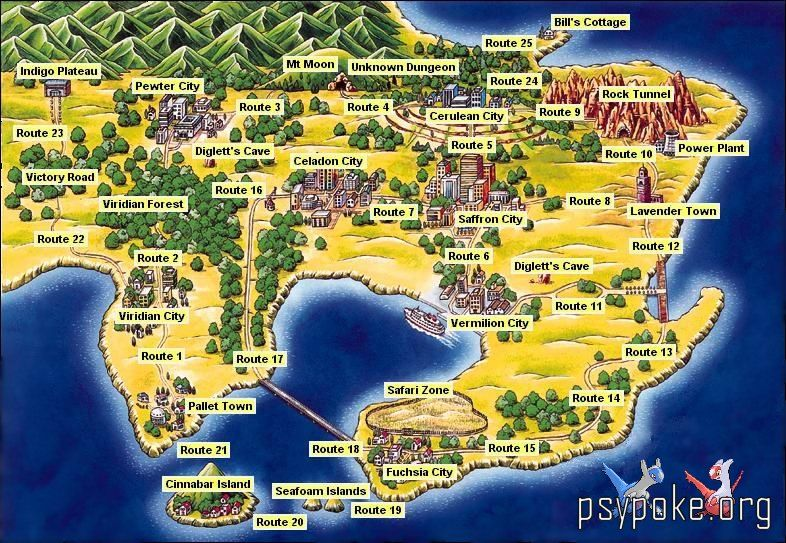 Pokemon Red Blue and Yellow  World Map  Pokemon  Pinterest