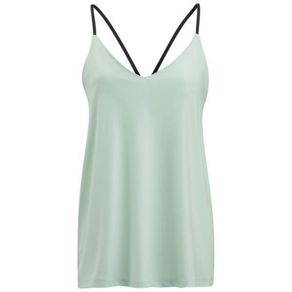 VILA Women's Mortal Cami Top - Fair Aqua (9.23 CAD) ❤ liked on Polyvore featuring tops, tank tops, shirts, tanks, blusa, fair aqua, green shirt, v-neck tank, green tank top and v neck tank