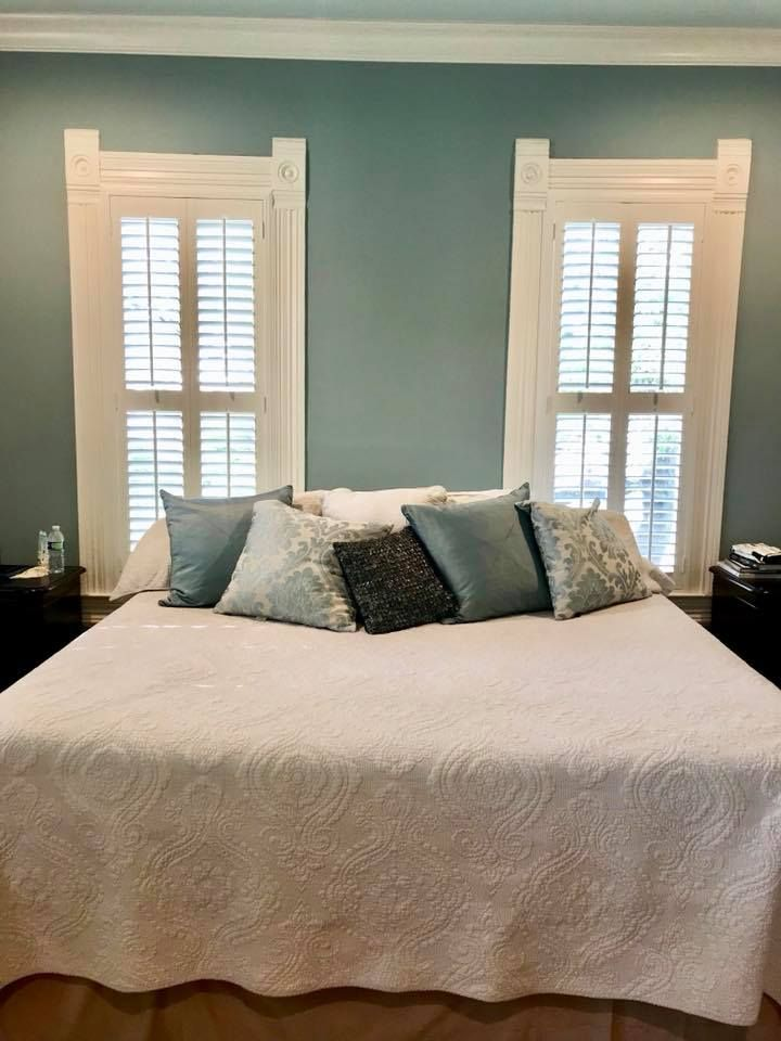 Beautiful Bedroom With Plantation Shutters On The Windows. Love The  Peaceful Blue On The Walls