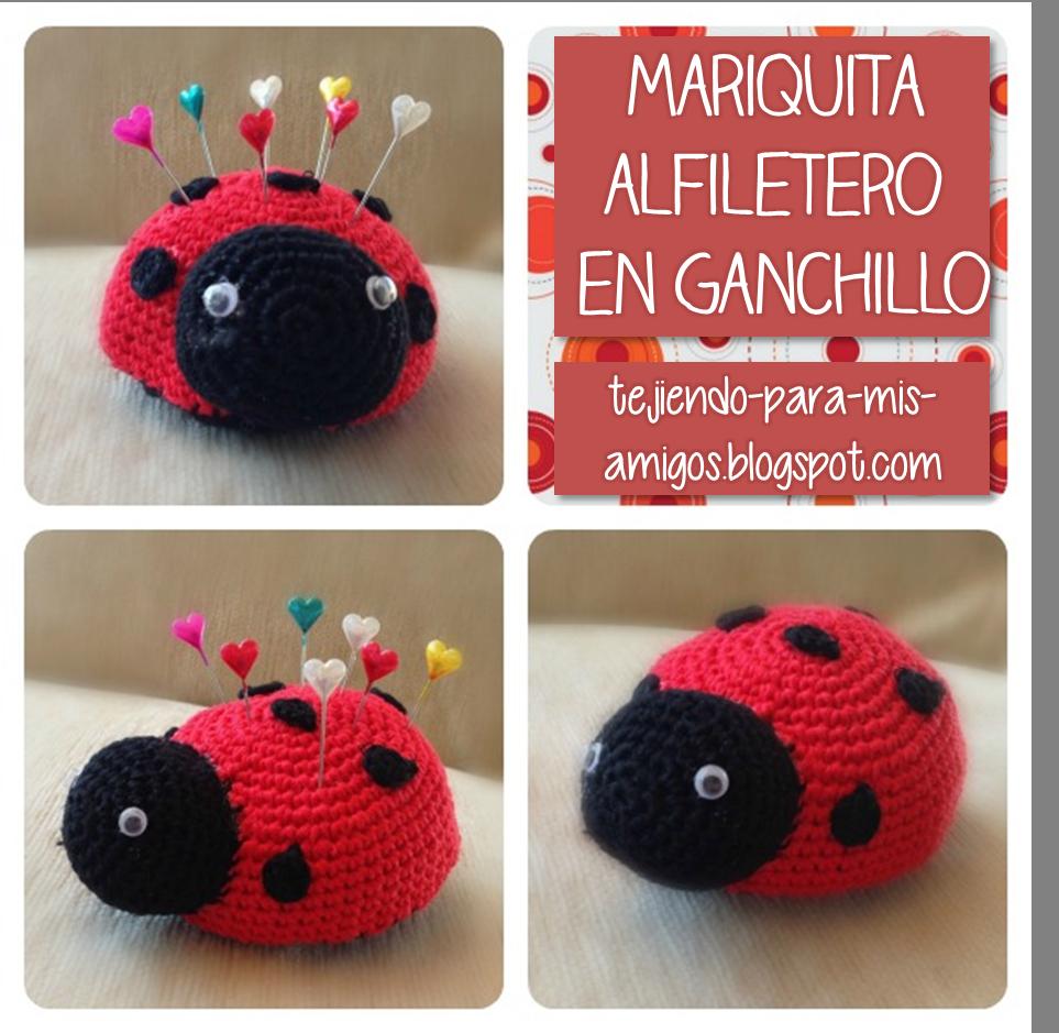 Mariquita Alfiletero Amigurumi - Patrón Gratis en Español aquí: http ...