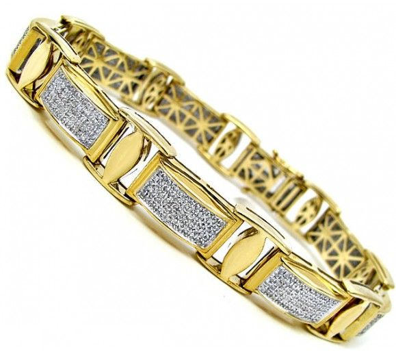 mens gold bracelets with diamonds Google Search
