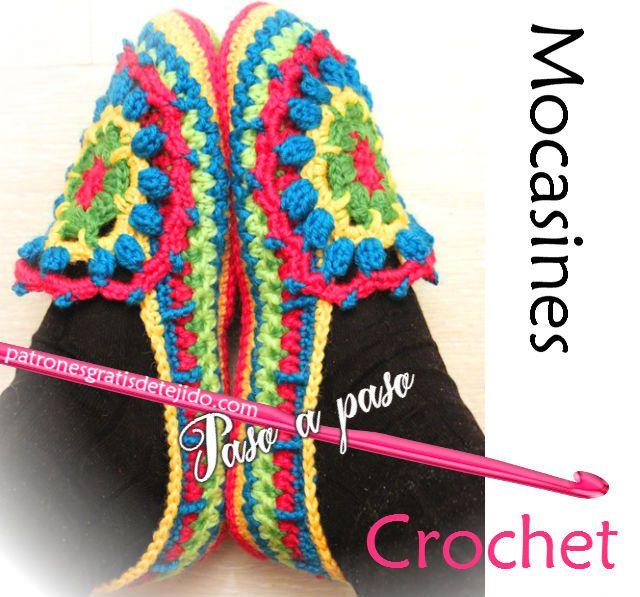 Tutorial de mocasines tejidos con ganchillo | zapatos | Pinterest ...