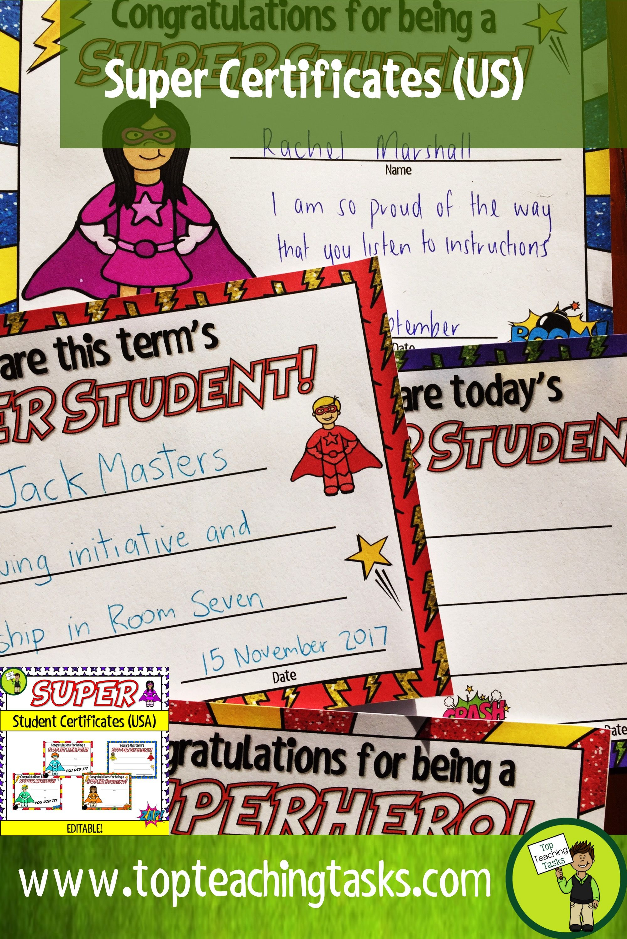 Superhero themed classroom celebration certificates editable usa celebrate your students success with our range of editable certificates these can be used 1betcityfo Image collections