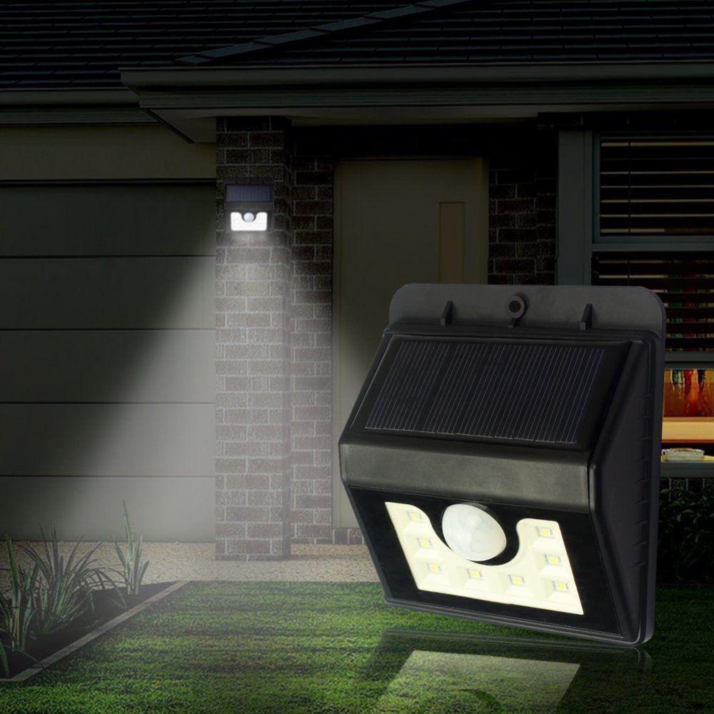 Led outdoor led solar lamp pir ultra bright wall lawn garden solar