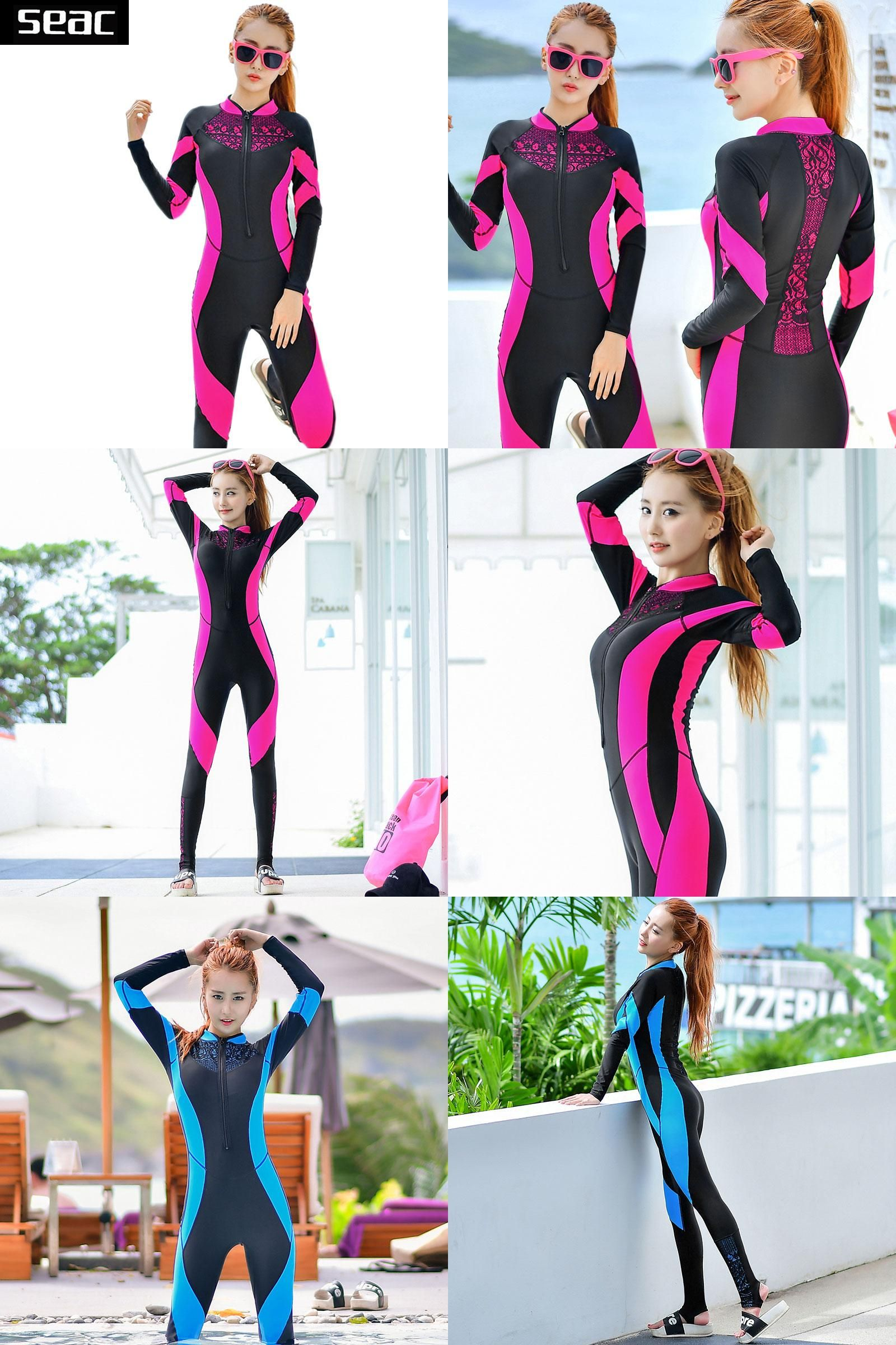 Visit to Buy  SEAC Lace Wetsuit Women Zipper Swimsuit Full Body Jumpsuits  Diving suit Rash Guard Wetsuits for Swimming Surfing Sports Clothing   ... b8b82b8c0
