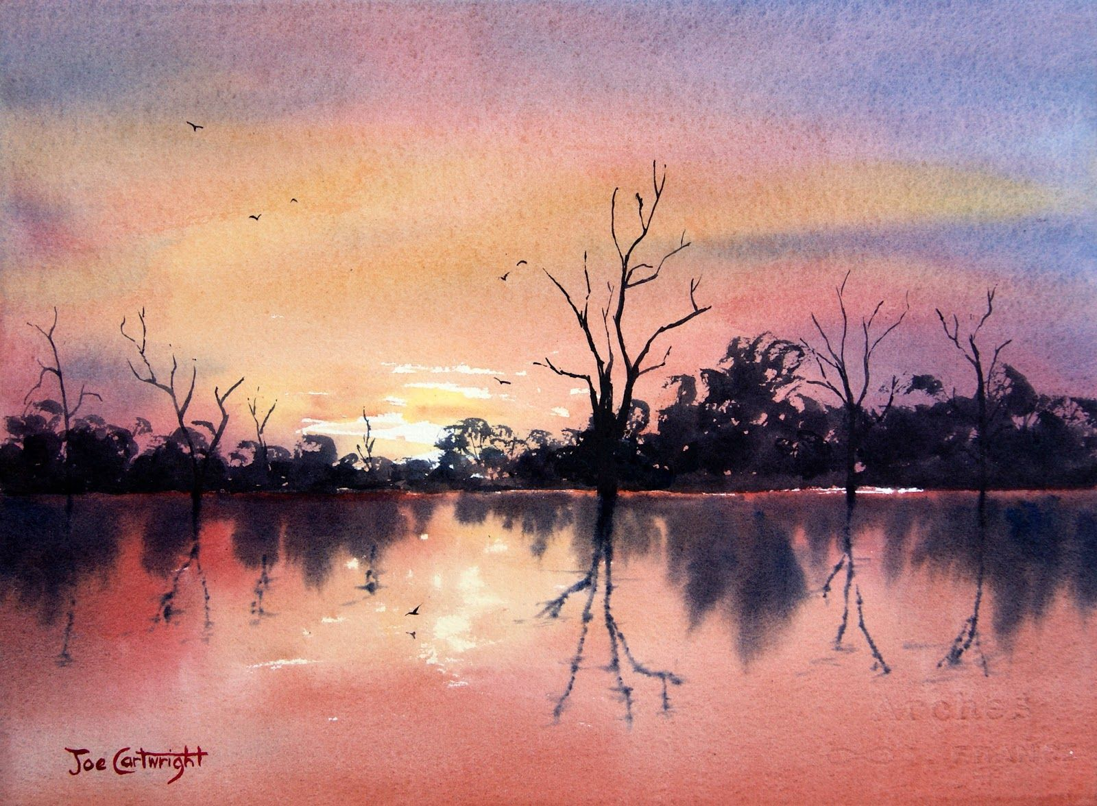 Easy Watercolor Paintings | Watercolor painting of Sunset on Lake Bonney by Joe Cartwright #easywatercolorpaintings