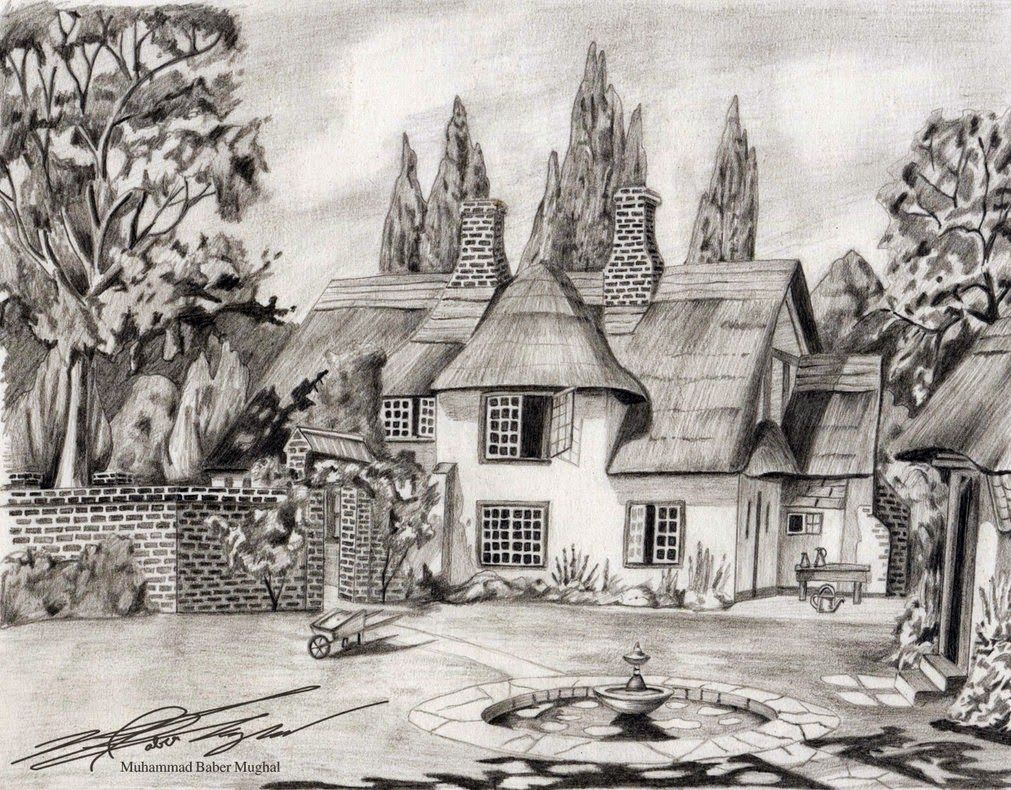 Perfect Sketch Of Your Dream House Nature Sketches Pencil Drawing Scenery Pencil Drawings Of Nature
