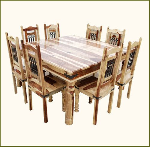 Solid Hard Wood Rustic Square Dining Table And Chair Set Furniture
