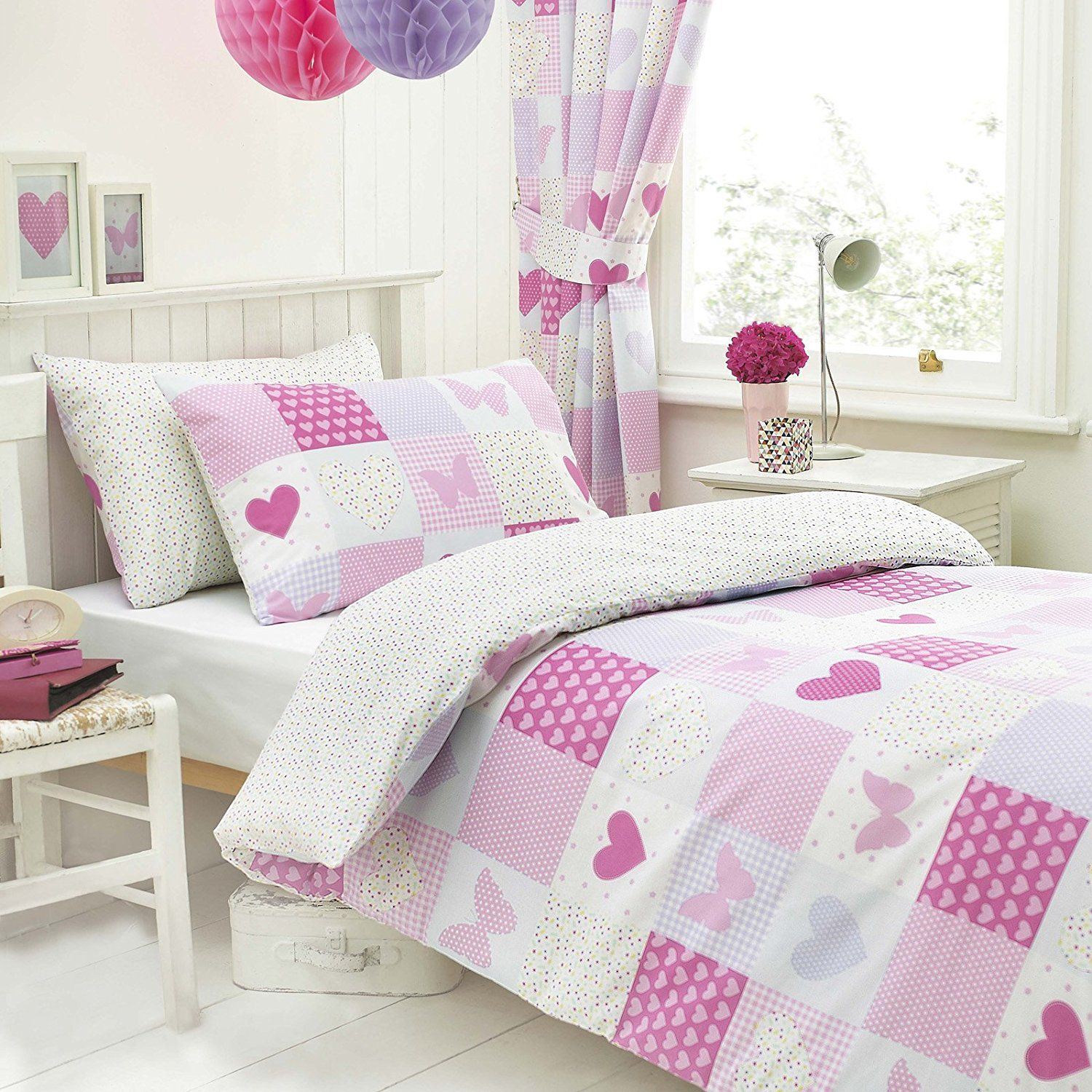 Girls Patchwork Pink Heart Butterfly Reversible Single Duvet Cover ...