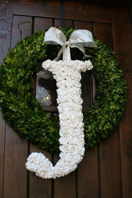 Door Initials From Etsy 18 Inches Without The Wreath White Wedding Flowers Wedding Flowers