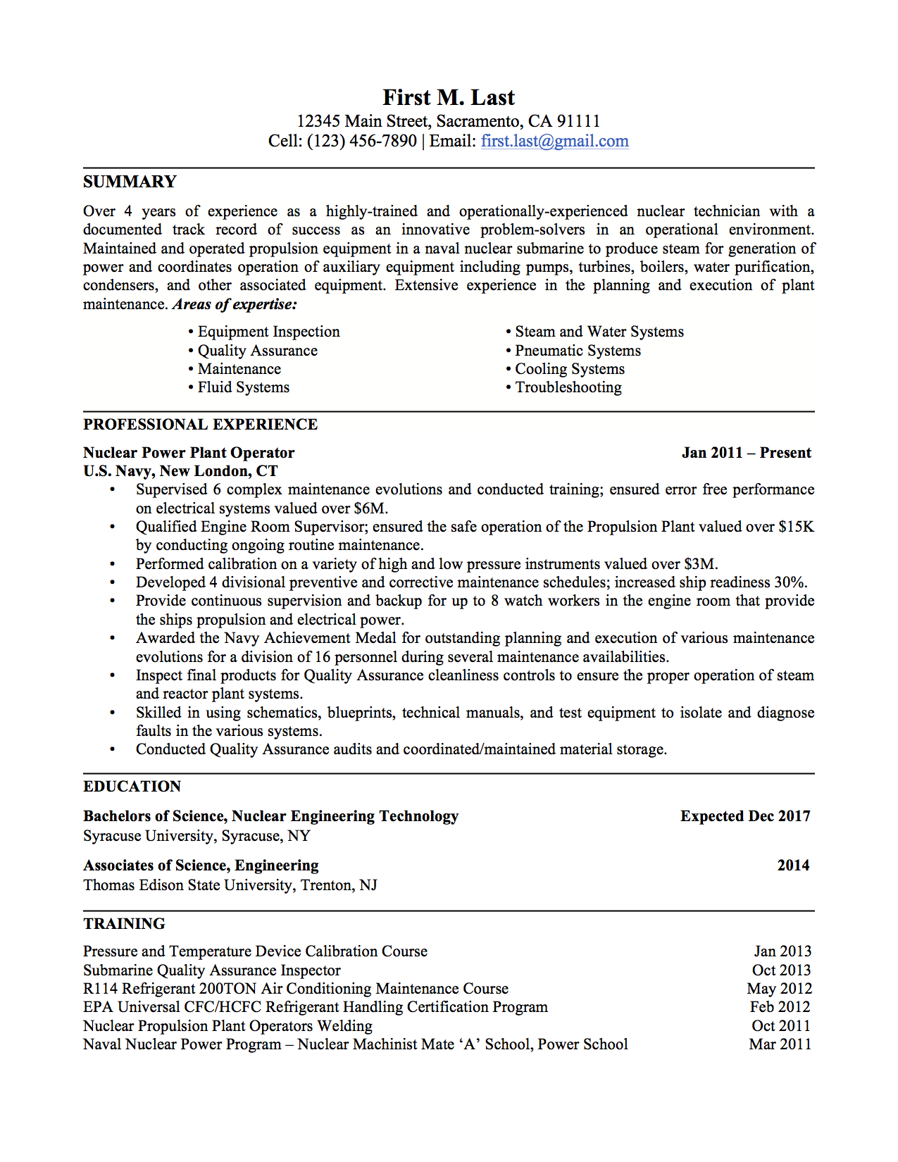 Power Plant Operator Resume Examples Production Engineer Template