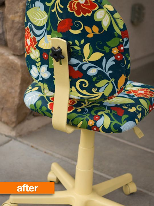 Use Your Fave Upholstery Fabric And Paint To Update An Old Office Chair