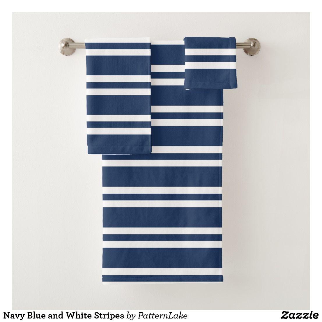 Navy Blue And White Stripes Bath Towel Set Zazzle Com Towel