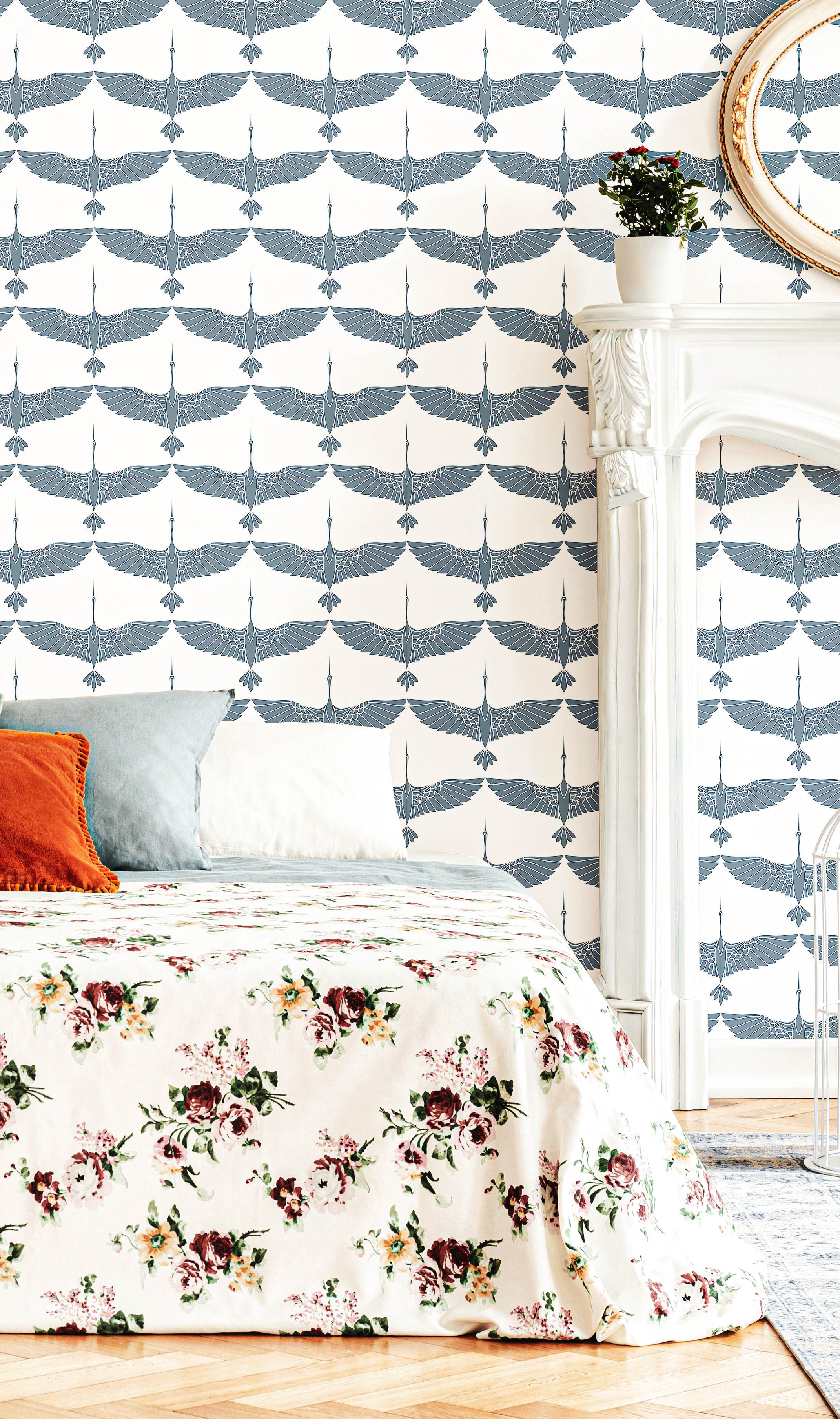 Blue Birds Peel And Stick Removable Wallpaper 4684 Removable Wallpaper Bedroom Removable Wallpaper Room Decor Bedroom
