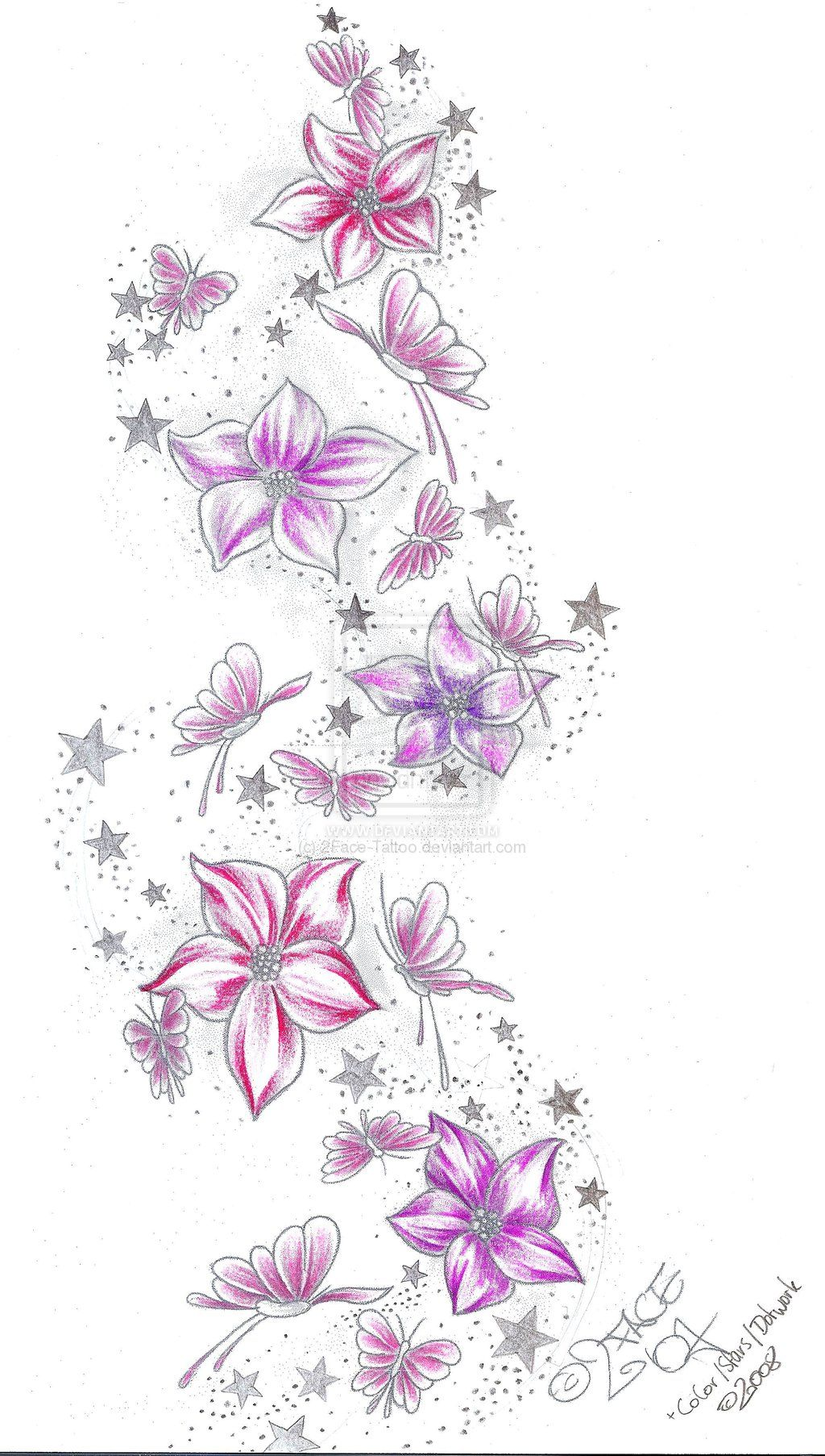 037f8595a Stars Flower Butterflies Color by 2Face-Tattoo.deviantart.com on @deviantART