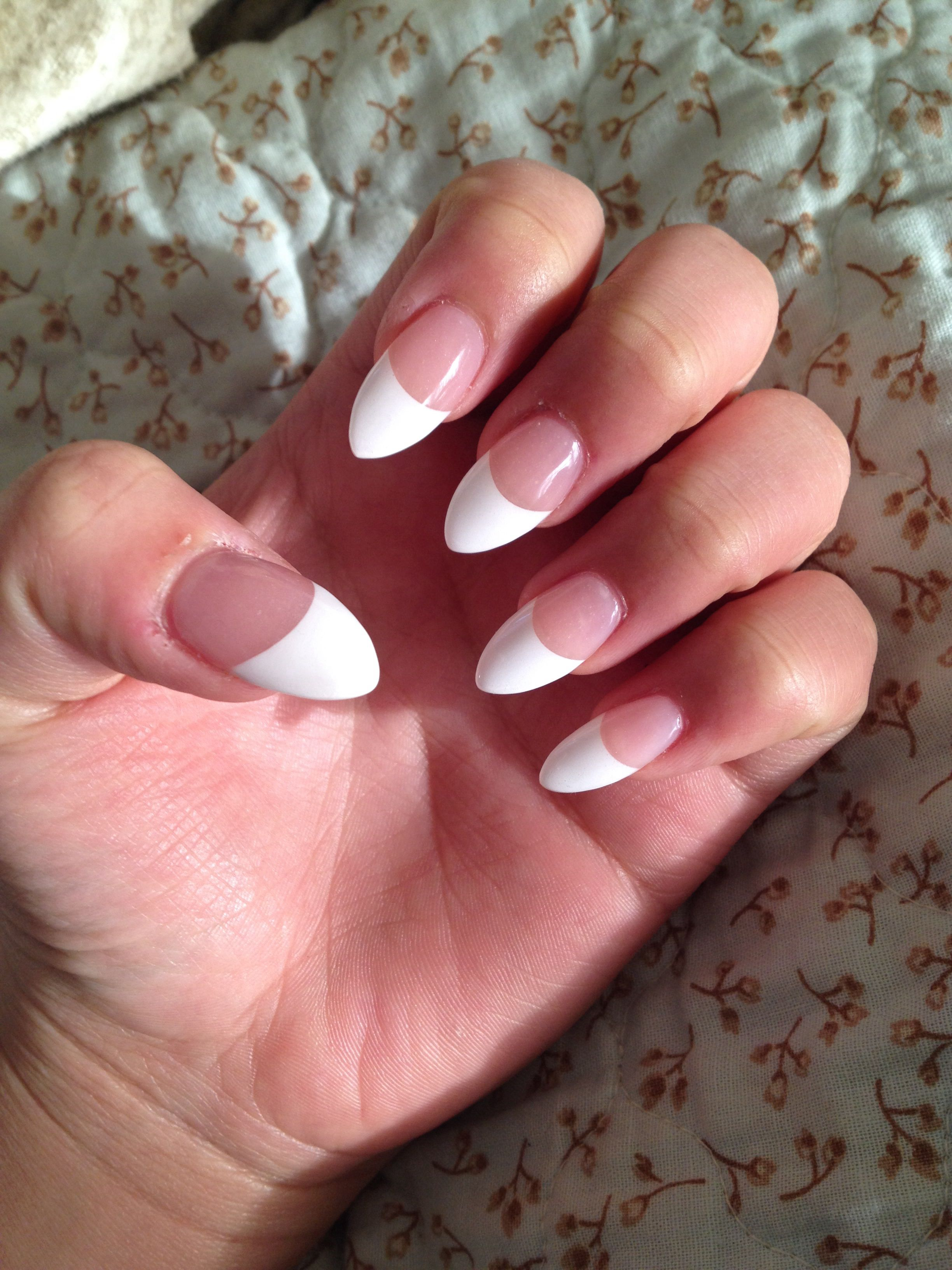 Stiletto nails with a French tip! | Nails | Pinterest | Double team ...