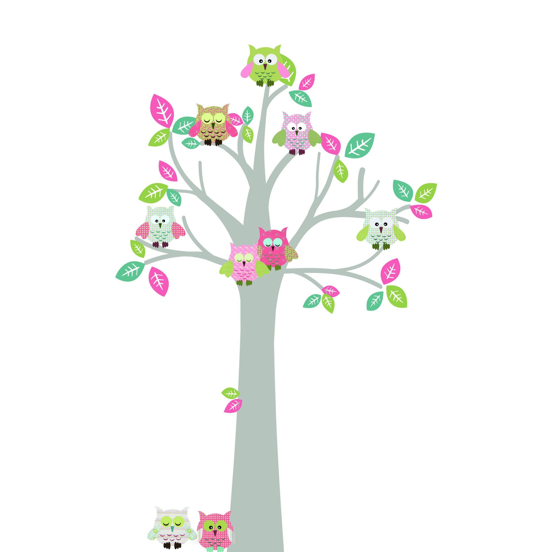 Muursticker Uilenboom Pink Green - Bomen | MuurstickersVoorKinderen.nl