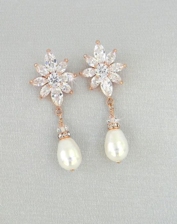 Rose Gold Bridal Earrings Crystal Wedding Jewelry Vintage Style Drop Swarovski Livvy Pearl